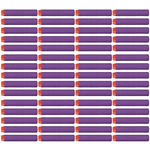 60 PCS Refill Bullet Foam Darts for Nerf N-strike Elite Series Blasters Kid Toy Gun Purple