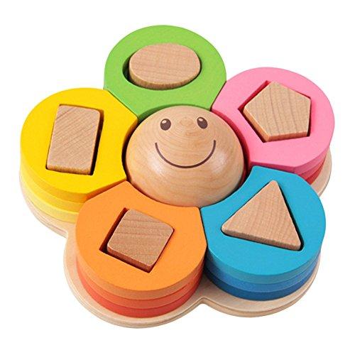 Lightake Hobby Toys New kids toys Shape Sorting Puzzle Board Flower Geometric Nesting Stacker Baby Toddler Wooden Toys for children