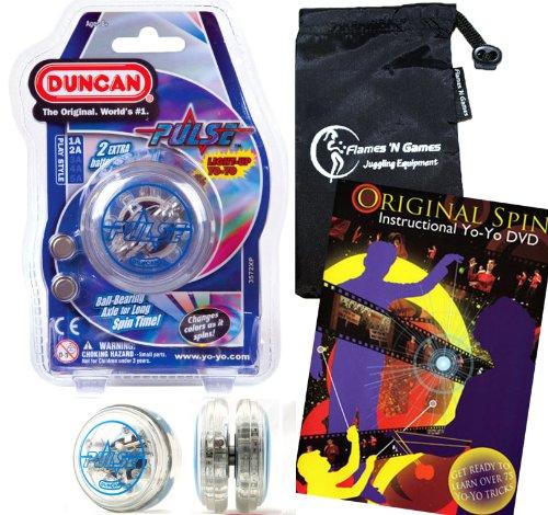 Duncan PULSE LED YoYo Blue Professional Light-Up Bearing String Tricks Yo Yo  Travel Bag  75 Yo-Yo Tricks DVD BATTERIES INCLUDED