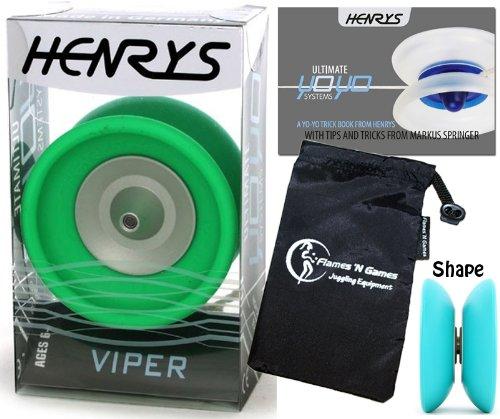 Henrys VIPER YoYo Green Professional Ball Bearing YoYo Instructional Booklet of Tricks Travel Bag Pro YoYos For Kids and Adults