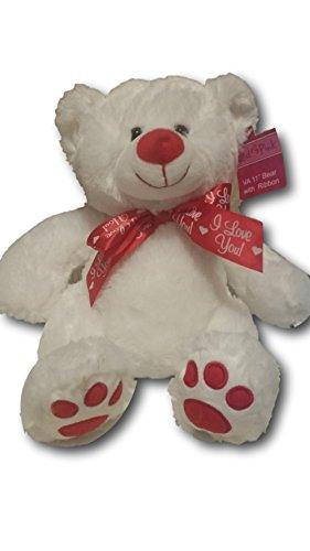 Adorable 11 Plush White Valentine Bear with I Love You Ribbon