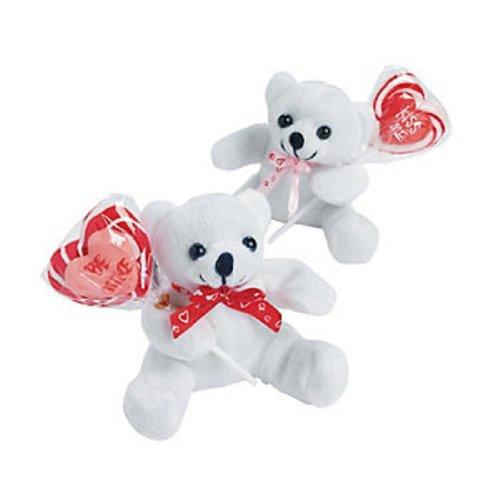 Dozen Plush Valentine Bears with Be Mine Kiss Me Suckers - Valentine Bulk Candy Gifts