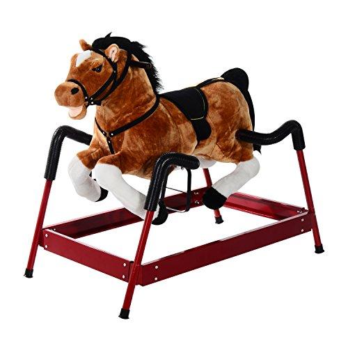 Qaba Kids Plush Spring Horse Rocker w Realistic Sounds