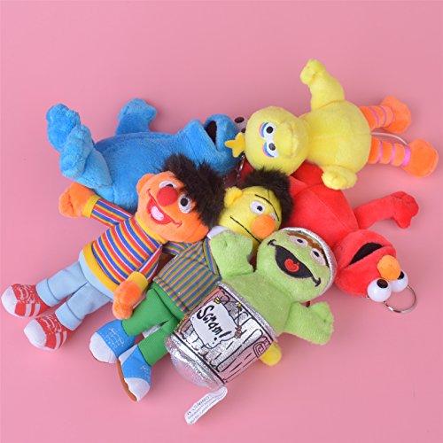 6 Pcs Sesame Street Stuffed Plush Toy Keychain