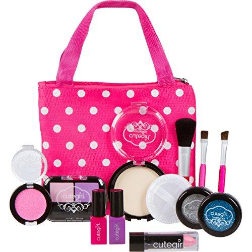 Cutegirl Cosmetics Pretend Play Makeup Kit Designer Girls Polka Dot Essential Bag Set