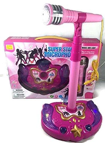 Pink Kids Karaoke Microphone Sing Along MP3 Machine Musical Girls Boys