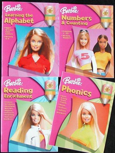 Set of 4 Barbie Learning Workbooks - ABCs - Numbers - Reading - Phonics