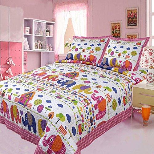Brandream Girls Pink Elephant Quilt Set Kids Comforter Set Twin Size