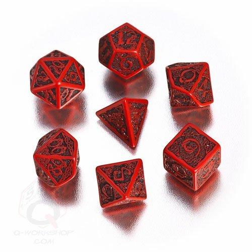 Q-Workshop Polyhedral 7-Die Set Celtic 3D Red Black Dice Set by Q Workshop