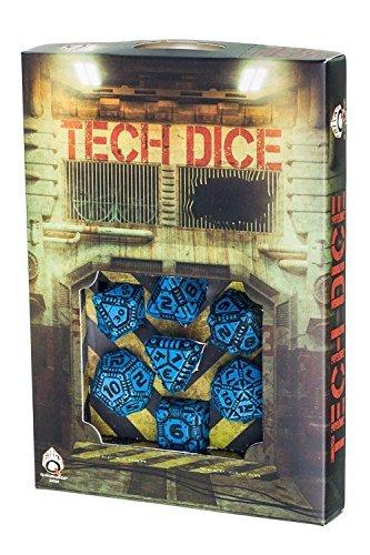 Q-Workshop Tech Blue - Black Dice Set - 7 Polyhedral Dice