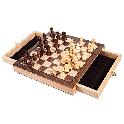 Deluxe Cabinet Style Elegant Inlaid Wood Staunton Chess Set