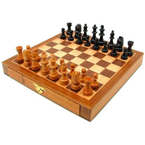 Elegant Inlaid Wood Cabinet with Staunton Wood Chessmen Brown