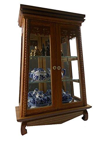 Miniature cabinet Vintage Teak Wood Cabinet Craft Handmade Carved Cupboard Furniture trapezo