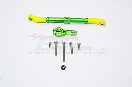 Axial SCX10 II Upgrade Parts AX90046 AX90047 Aluminum Adjustable Servo Rod 25T Servo Horn - 2Pcs Set Green