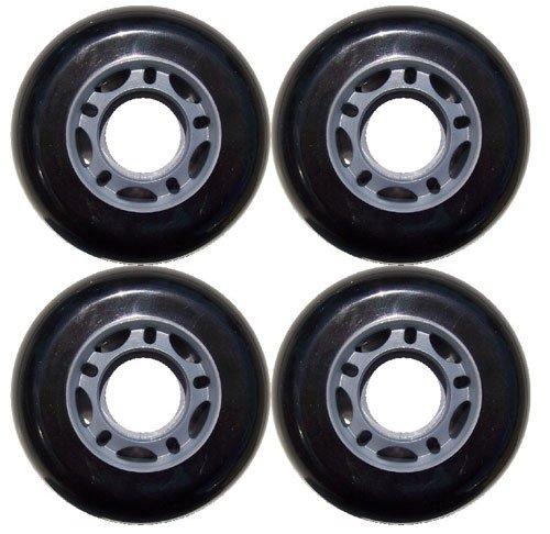 Black Blank 72mm 82A Inline OUTDOOR Skate Wheels 4-Pack