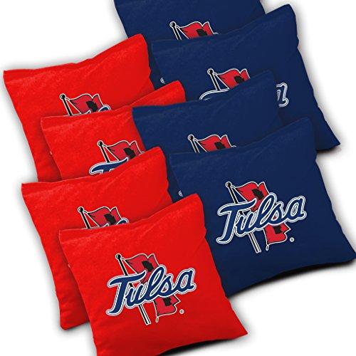 TULSA GOLDEN HURRICANE Cornhole Bags SET of 8 Officially Licensed ACA REGULATION Baggo Bean Bags ~ Made in the USA