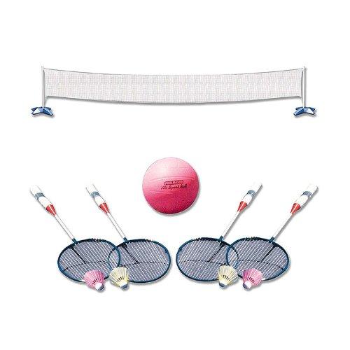 Poolmaster 72785 Across Pool Volleyball  Badminton Game Combo