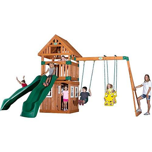 Backyard Discovery Outing All Cedar Wood Playset Swing Set
