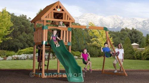 Backyard Discovery Trek All Cedar Wood Playset Swing Set - Assembly Included