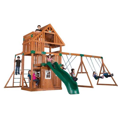 Backyard Discovery Wanderer All Cedar Wood Playset Swing Set