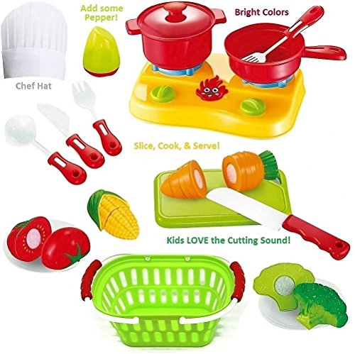 FUNERICA Cutting Play Fruit Toys Set - Includes Toy Vegetables Play Food set for kids with Knife - Mini Kitchen Kids Dishes- Toy Grocery Basket Child Chef Hat to pretend play cooking the cut fruit
