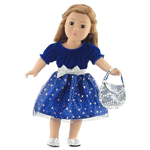18 Inch Doll Clothes  Midnight Star Christmas Dress Outfit with Silver Sequin Shoes and Purse  Fits 18 American Girl Dolls  Gift-boxed