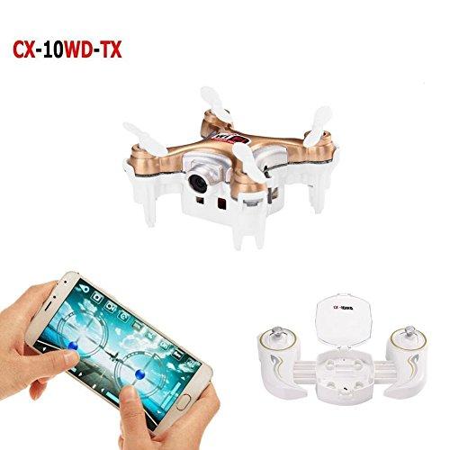 Cheerson CX-10WD-TX Wifi FPV Mini Drone with Remote Control 24G 4CH 6Aixs RC Quadcopter RTF Camera Live Video - Gold