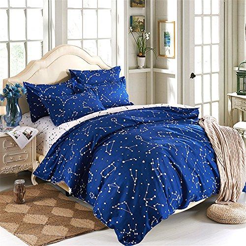 EsyDream Home BeddingBlue Color constellation 4PC Duvet Cover SetsSpace Style Kids Bedding SetsCotton microfiber No ComforterTwin Size 4pc Set