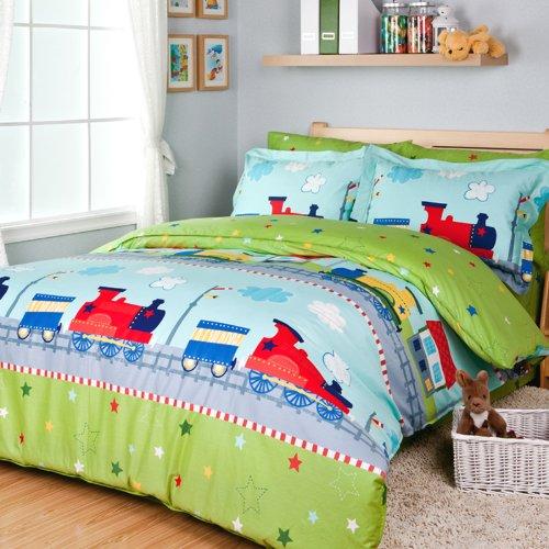 Fantastic Journey by Train Duvet Cover Set Green Boys Bedding Kids Bedding Twin Size
