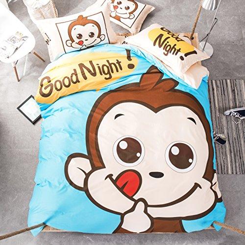 Mumgo Home Bedding Sets for Kids 100 Cotton Cute Cartoon Animal Good Night Print Duvet Cover Set FullQueen Size 4 Piece -Not Include Comforter Little Monkey