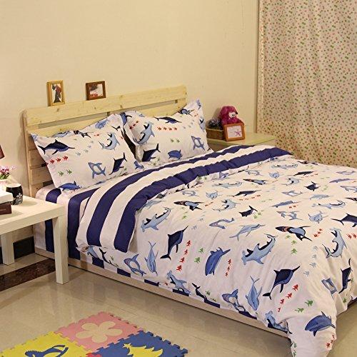 Norson Navy Blue Striped Bedding Sets Bedding Shark Underwater World of Bedding Kids Duvet Cover Set Cotton Bedding Set Twin Full Size