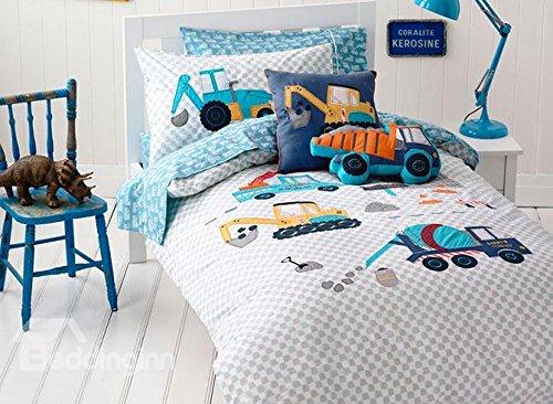 Super Cute High Quality Trucks Pattern 3-Piece Kids Duvet Cover SetExtra-long twin
