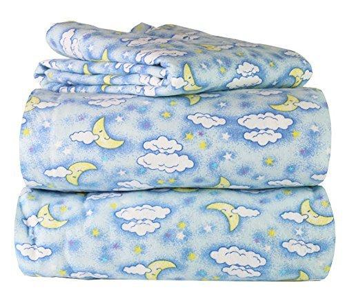 100 Cotton Great Quality 3 Piece Flannel Twin Kids Sheet Set in 6 Designs Blue Moon Sky