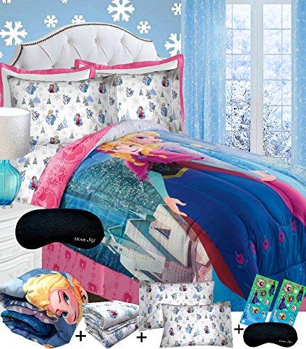 Disney Frozen COTTON QUEEN Bedding SUPERSET Comforter  100 COTTON Flannel Sheets  2 Pillowcases  2 Frozen Glitter Sticker Pages  Home Style Brand Sleep Mask 8pc Bed in a Bag Set Elsa Anna Girls