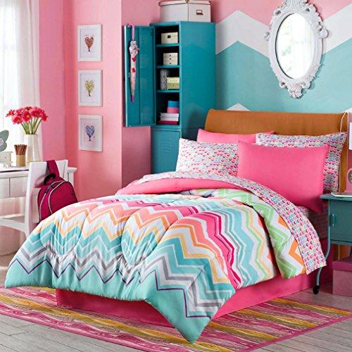 Happy Chevron Rainbow Girls Teen Comforter  Sham  100 COTTON Sheet Set  Bedskirt and Home Style Brand Sleep Mask Piece Bedding Bundle Full