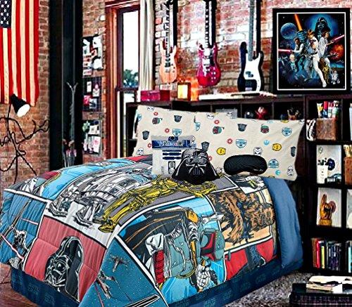 New 6 Piece Star Wars Classic FULL SUPERSET Soft Comforter  100 COTTON Flannel Sheets  2 Pillowcases  Bonus Home Style Sleep Mask Bedding Bundle