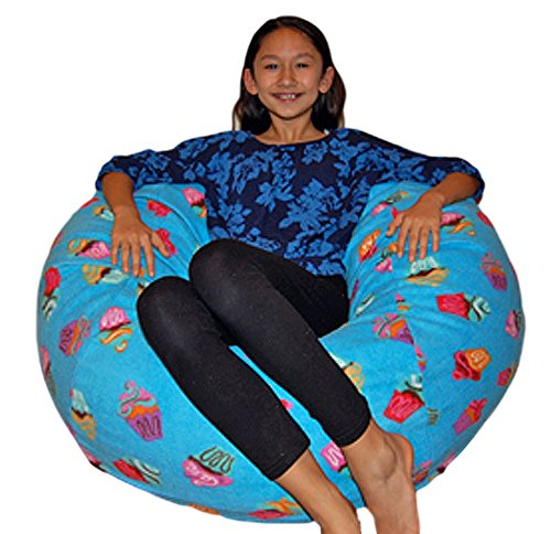 Ahh Products Cupcakes Fleece Washable Bean Bag Chair Large Blue