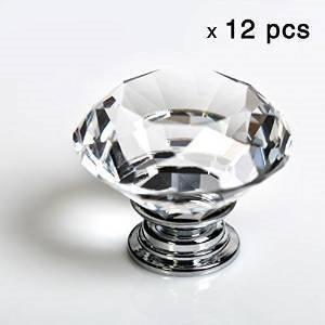 IQUALITE 12pcs Diamond Shape Crystal Glass 30mm Drawer Knob Pull Handle Usd for Caebinet Drawer