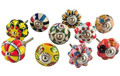 STREET CRAFT Set of 10 Multicolor hand painted ceramic pumpkin knobs cabinet drawer handles pulls