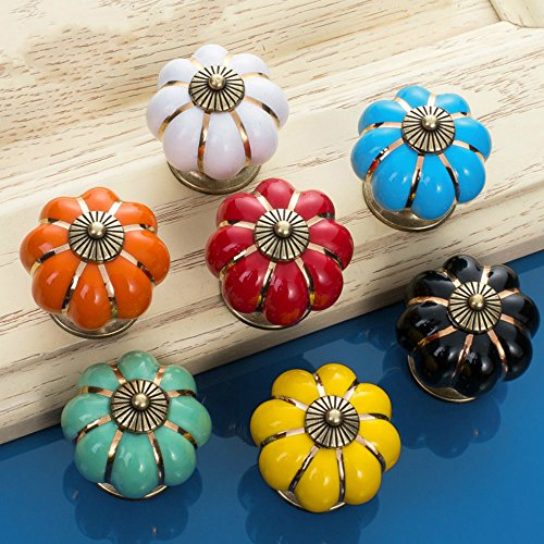 Sytian7pcs Multicolor Candy Color Baby Kids Childrens Furniture Drawer Handles Decorative Pumpkin Ceramic Door Cabinet Drawer Knobs Pull Handles Creative Cupboard Handle Pull Knobs with Screw