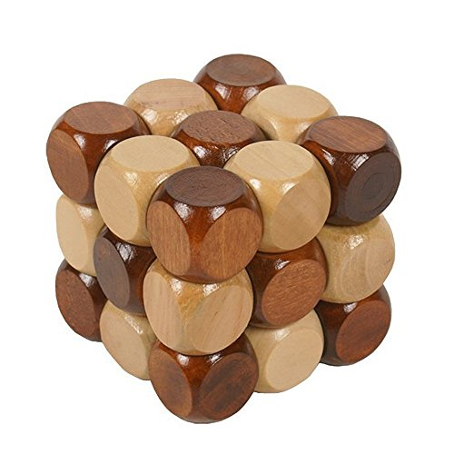 Sanmersen Wood Made 3D Brain Teasers Cube Puzzles Interlocking Jigsaw Puzzles Game Toy for Kids Teens Adults Gifts - Challenge Your Logical Thinking