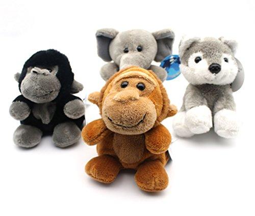 Stuffed Animal Toys Set of 4 Plush Toys Super-Cuddly Polyester Fabric Including Sitting Beanies Elephant Wofe gorilla