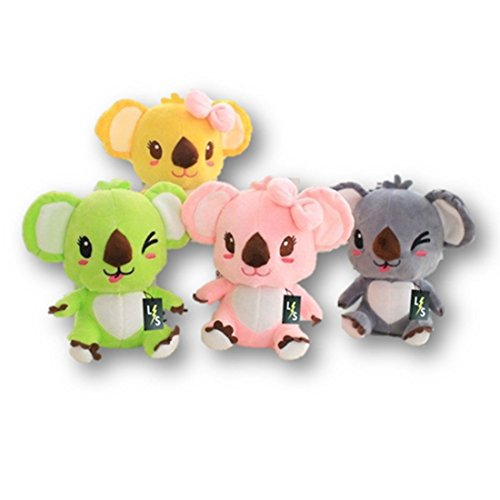 LightningStore Adorable Cute Colorful Green Yellow Pink Black Koala Stuffed Animal Doll Realistic Looking Plush Toys Plushie Childrens Gifts Animals