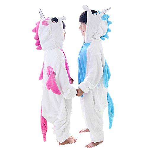 Duraplast Kids Unicorn Animal Costume Flannel Hoodie Pyjamas Onesie Jumpsuit Wear Pink M
