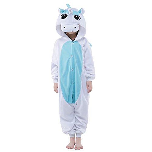 Yxjdress Unisex Kid Blue Unicorn Animal Pajamas Kigurumi Halloween Costume