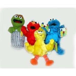 4pc Elmo Big Bird Cookie Monster Oscar Plush Doll Toy