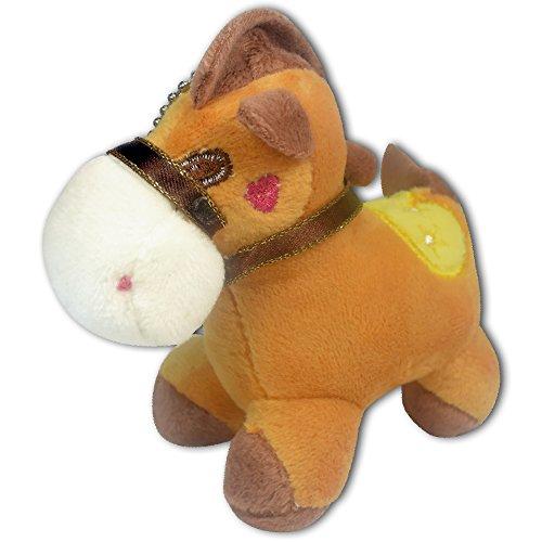 4 Baby Brown Horse Soft Plush Toy Stuffed Animal Keychain New