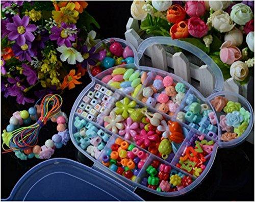 Emorefun Kids Beads Toy DIY Jewelry Beads for Bracelets Necklace Educational Toy Bear Shape Box