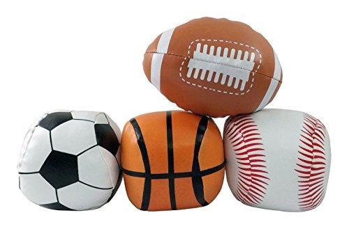 5 Mini Soft Plush Sports Balls Set for Kids - Set of 4 Football Baseball Basketball Soccer by Liberty Imports