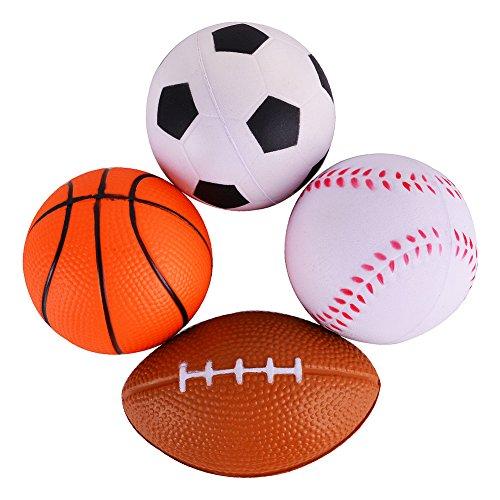 Acekid Mini Soft PU Sports BallsFootball Soccer ball Basketball Baseball Set of 4